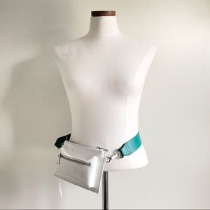 Free People White & Turquoise Leather fanny pack